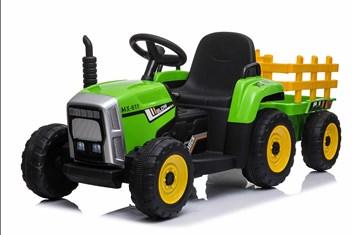 Dětský el.traktor s vlekem  s 2,4G dálkovým ovladačem -zelený