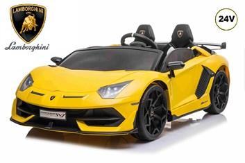 Dětské elektrické licenční  Lamborghini Aventador SVJ Roadster pro 2 děti - žluté  - SESTAVENÉ  ZBOŽÍ