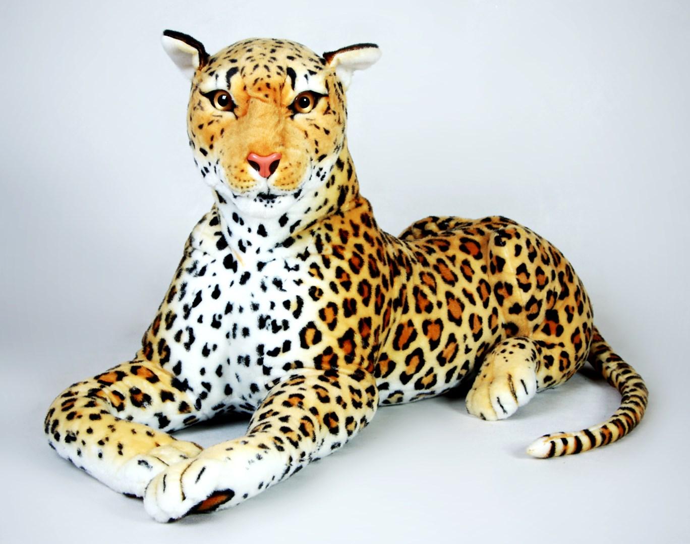 Plyšový ležící leopard