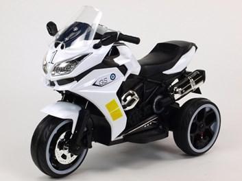 Motorka - Tricykl Dragon s osvětlenými koly,motory 2x6V,pérováním nápravy,digiplayer USB,Mp3,voltmetr,LED osvětlení, bílá