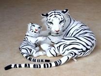 Plyšový tygr bílý s mládětem