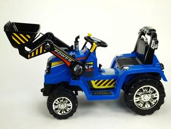 Dětský elektrický traktor se lžící modrý