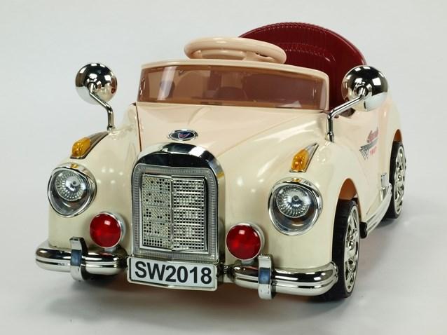 Dětské elektrické autíčko Kuba Retro mini s 2.4G DO, plynulým rozjezdem, LED osvětlením, hudbou SW2018.beige