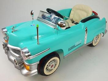 Dětské el. autíčko KUBA RETRO s nafukovacími koly a RC tyrkysové