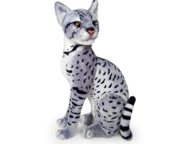 Plyšová sedící kočka leopardí