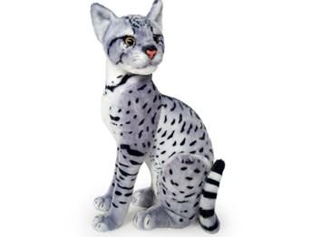 Plyšová sedící kočka leopardí šedá