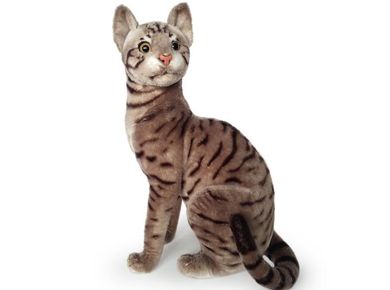 Plyšová sedící kočka  tygrovaná