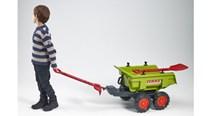 Vlek za traktor dvounápravový s nářadím , výklopný , délka 87cm  zelený