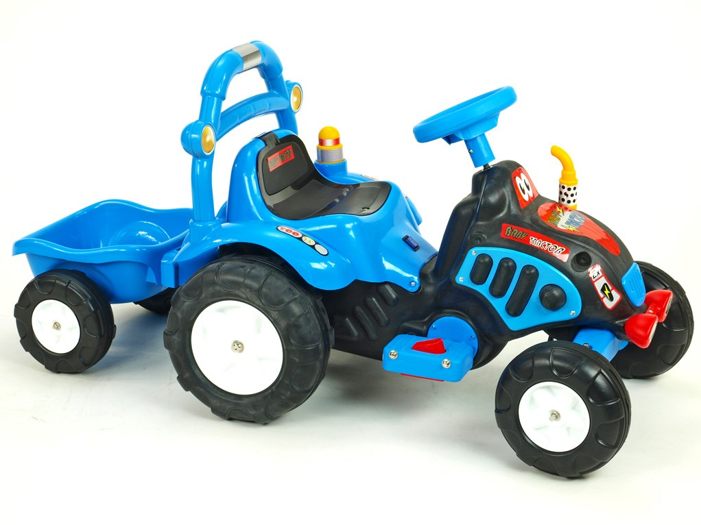 Elektrický traktůrek s vlekem  modrá
