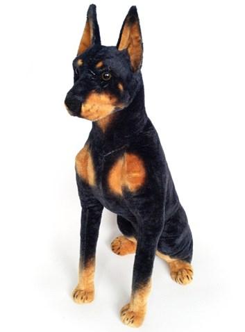 Plyšový sedící pes Doberman