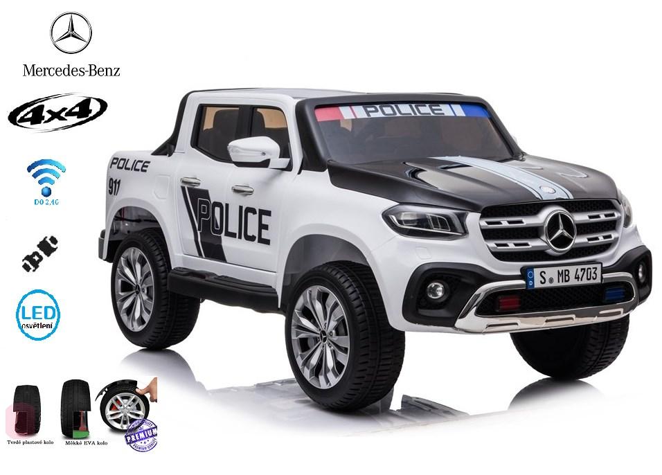 Mercedes  Benz X-Class 4x4, dvoumístný pick up POLICIE  s 2.4G DO, plynulým rozjezdem,USB,Mp4 přehrávač, čalouněním, EVA koly
