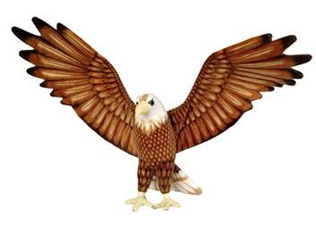 Plyšový orel s roztaženými křídly hnědý