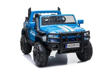 Auto pro 2 děti JUMBO  INTERCEPTOR s 2,4G RC , modrá barva - SESTAVENÉ