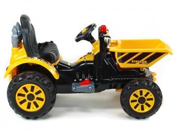 Dětský elektrický traktor Kingdom s přední vanou -žlutá
