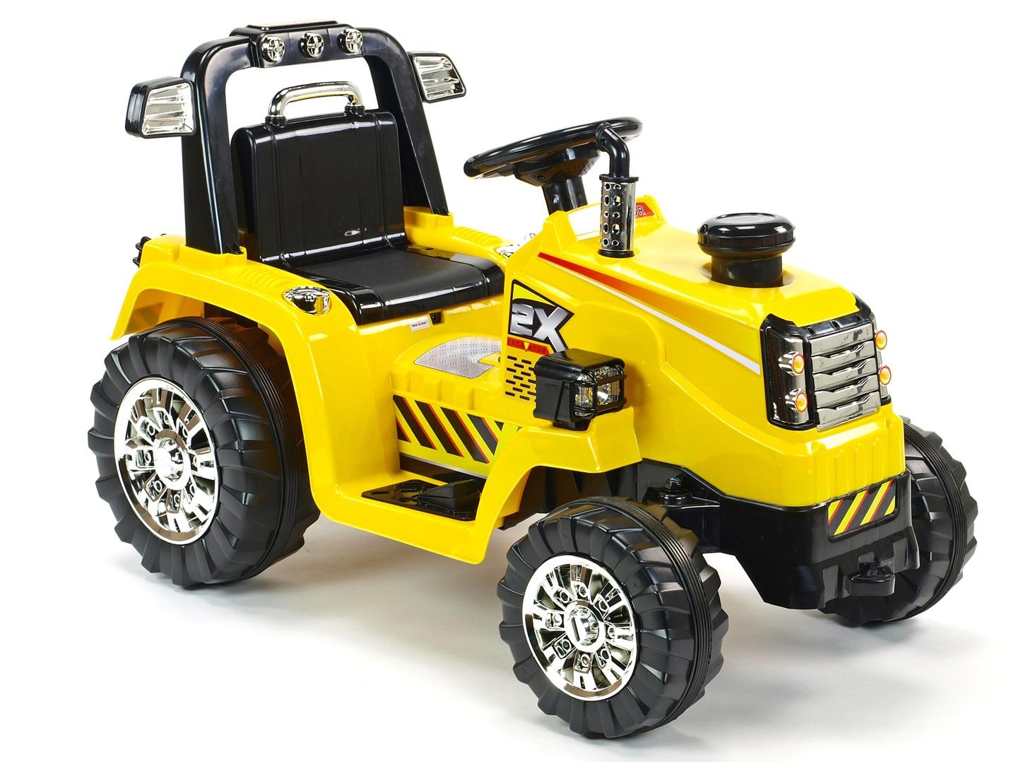 Dětský elektrický traktor 12V s 2,4G dálkovým ovládáním, mohutnými koly -ZP1007RC  žlutý