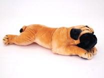 Plyšový ležící pes Mops