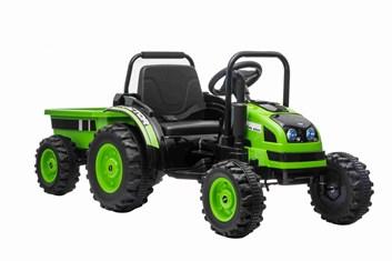 Velký dětský elektrický traktor  s vlekem s 2,4G dálkovým ovladačem , zelený