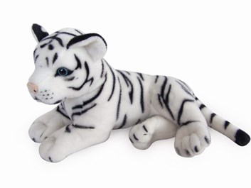Plyšový tygřík bílý ležící