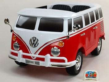 Dětské el. autíčko autobus  Volkswagen Transporter Samba bus s 2.4G DO červená POSLEDNÍ KUS