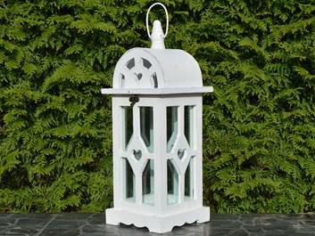 Dřevěná lucerna Annie, bílá - 42 cm