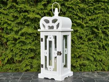 Dřevěná lucerna Dianne, bílá - 47 cm