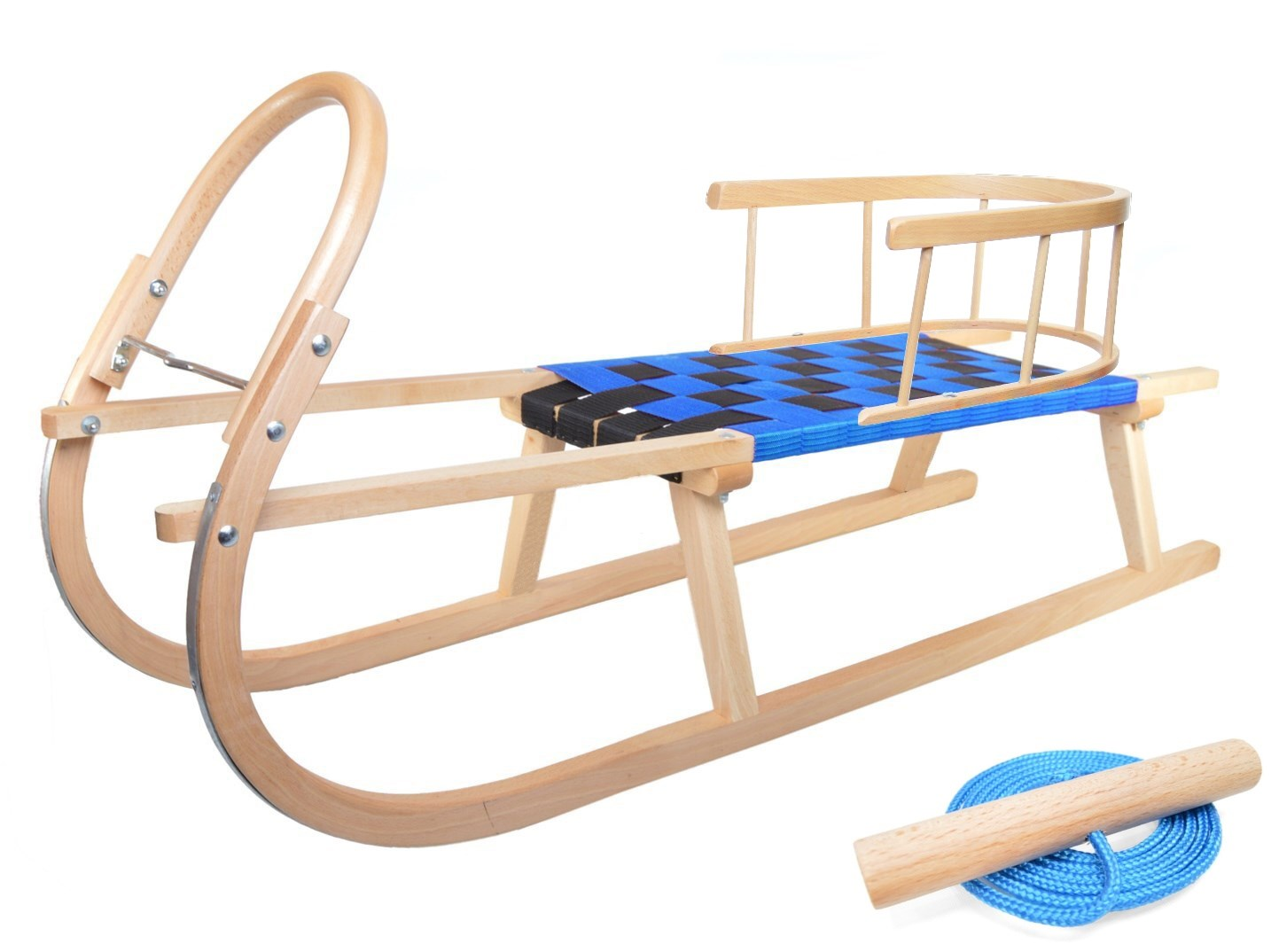 Dřevěné sportovní dětské sáňky s modrým průpletem a ohrádkou