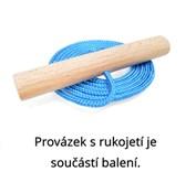 Dřevěné sportovní dětské sáňky s fialovým průpletem a ohrádkou