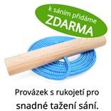 Dřevěné dětské sáňky s fialovým průpletem a ohrádkou (se zvýšenou nosností)