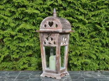 Dřevěná lucerna Eleanor, hnědá - 43 cm