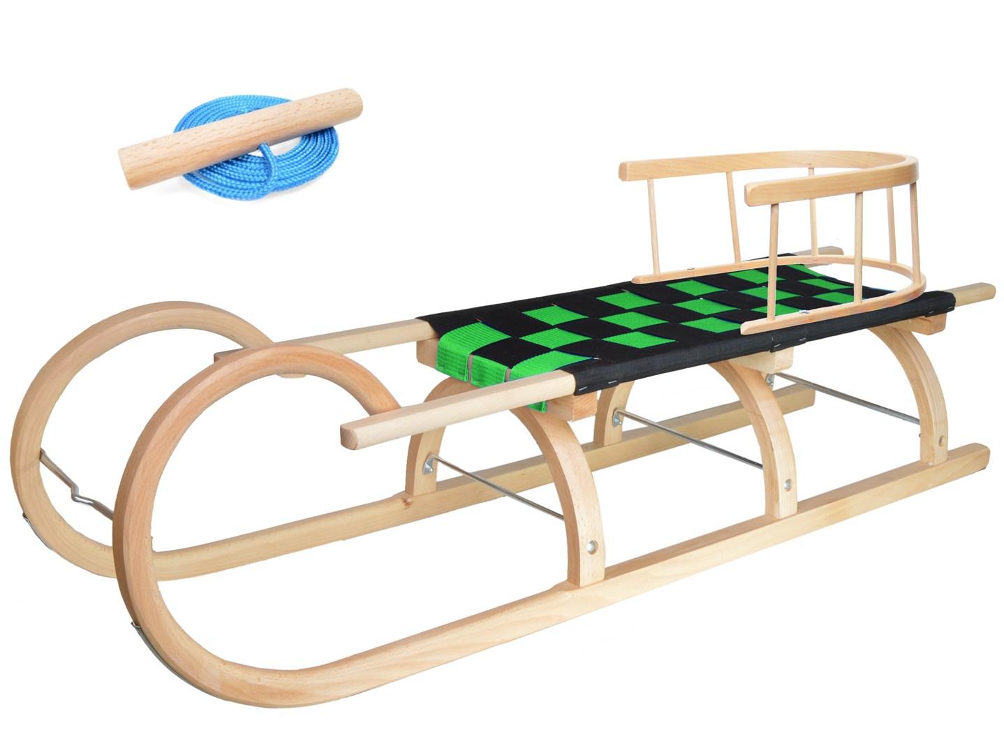 Dřevěné dětské sáňky se zeleným průpletem a ohrádkou