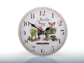 Květinové hodiny do kuchyně s motýlem JARDIN