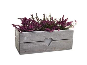 Dřevěný truhlík na květiny šedý