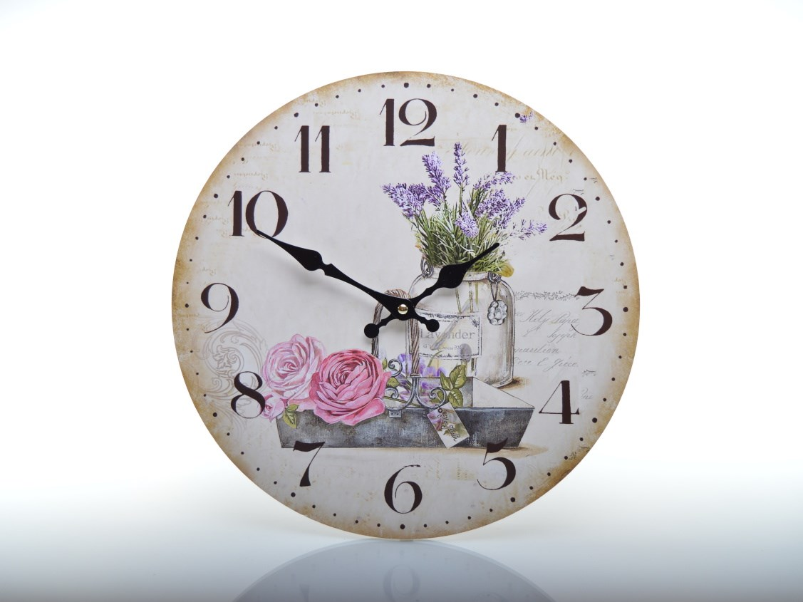 Retro hodiny s růží a levandulí