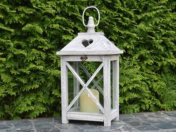 Dřevěná lucerna Estee - šedá