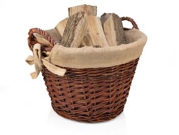 Proutěný koš na slámu a dřevo s vyjímatelnou vložkou