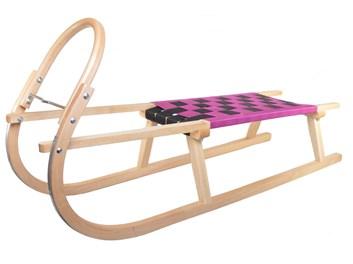 Dřevěné sportovní dětské sáňky s fialovým průpletem
