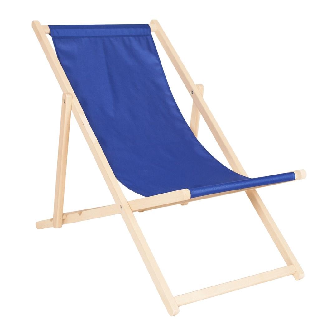 Lehátko k bazénu dřevěné skládací s modrým plátnem