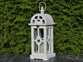 Dřevěná lucerna Annie, šedá - 42 cm
