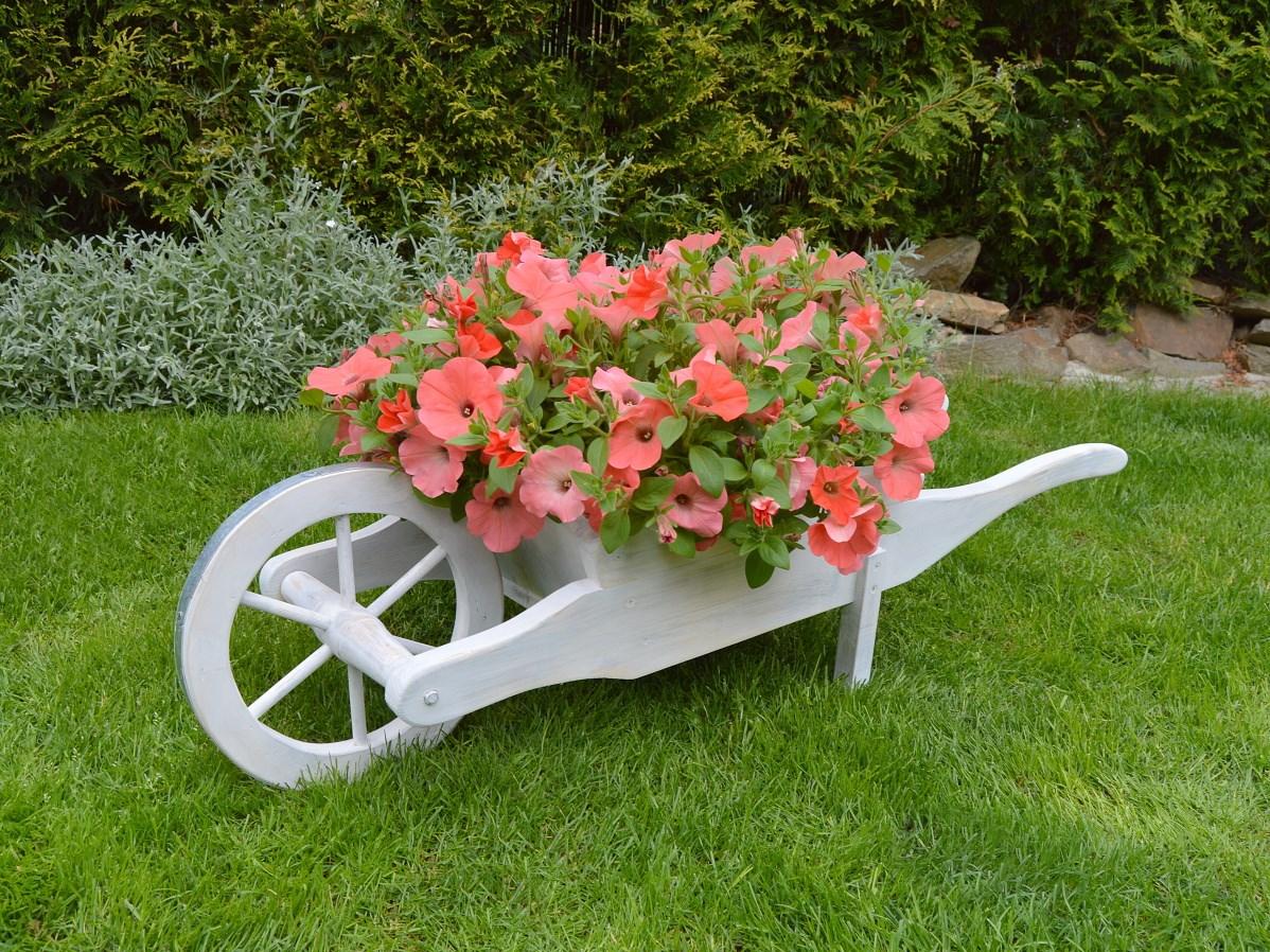 Bílý trakař na květiny