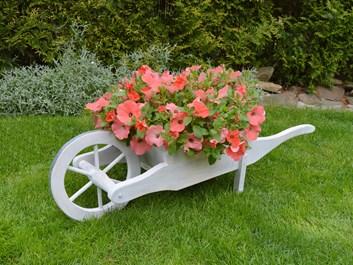 Trakař na květiny bílý