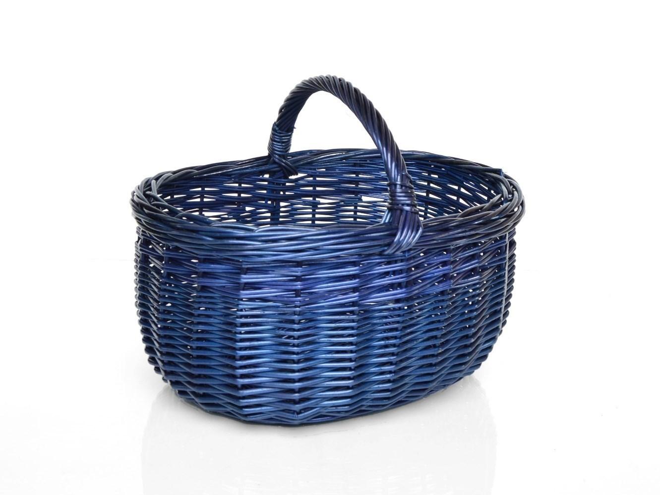 Proutěný nákupní koš modrý