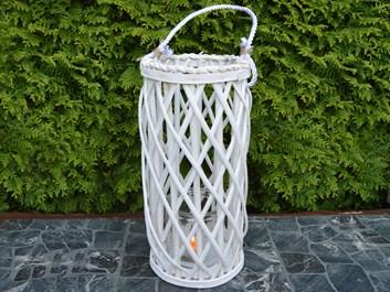 Proutěný svícen se sklem V. - průměr: 21 cm,  výška: 41 cm
