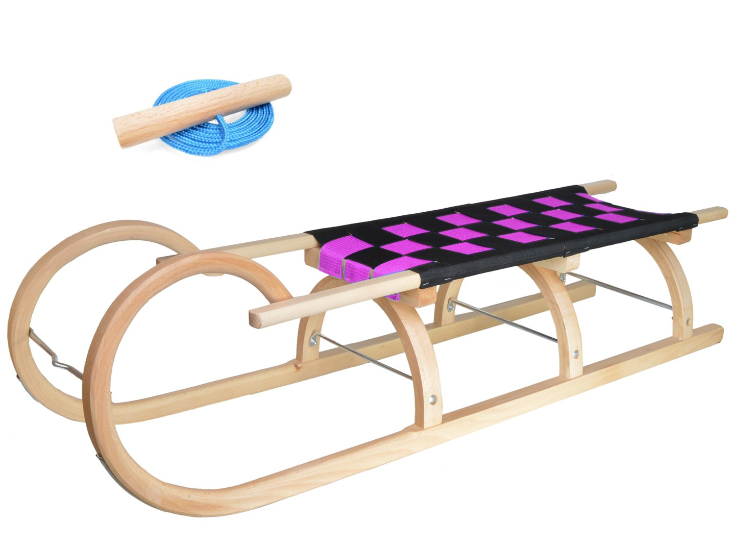 Dřevěné dětské sáňky s fialovým průpletem (se zvýšenou nosností)