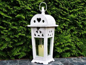 Dřevěná lucerna Eleanor, šedá - 43 cm