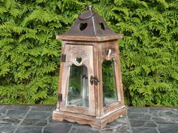 Dřevěná lucerna Claire, hnědá - 36 cm
