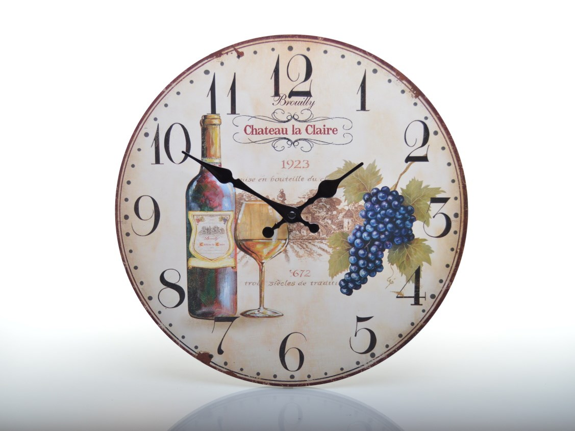 Nástěnné hodiny s vínem CHÂTEAU LA CLAIRE HLC143036