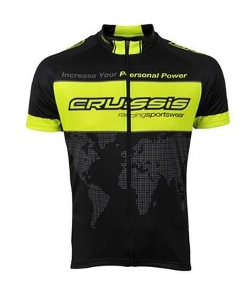 Crussis Cyklistický dres - černá / žlutá fluo, vel. L