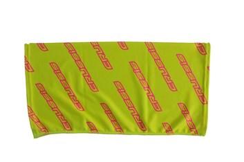 Crussis Dámský tubus na krk - žlutá fluo / růžové fluo logo