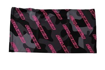 Crussis Dámský tubus na krk - černý maskáč / růžové fluo logo