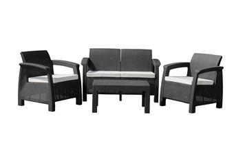 G21 Zahradní nábytek MOANA FAMILY imitace ratanu, černý (2+1+1)